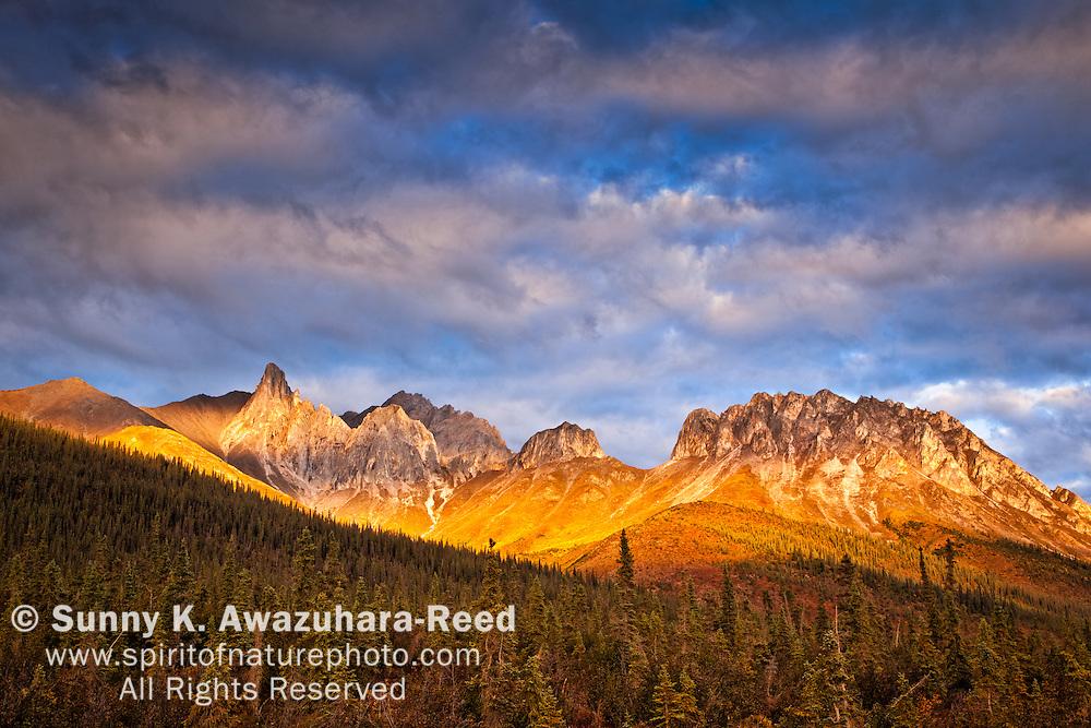 Sunset glow on Snowden Mountain in Broooks Range. Dalton Hwy, Arctic Alaska, Autumn.