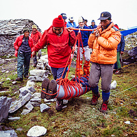 American guides teach climbing sherpas mountain rescue techiques at an early mountaineering school for sherpas in the Khumbu region of Nepal, 1980.