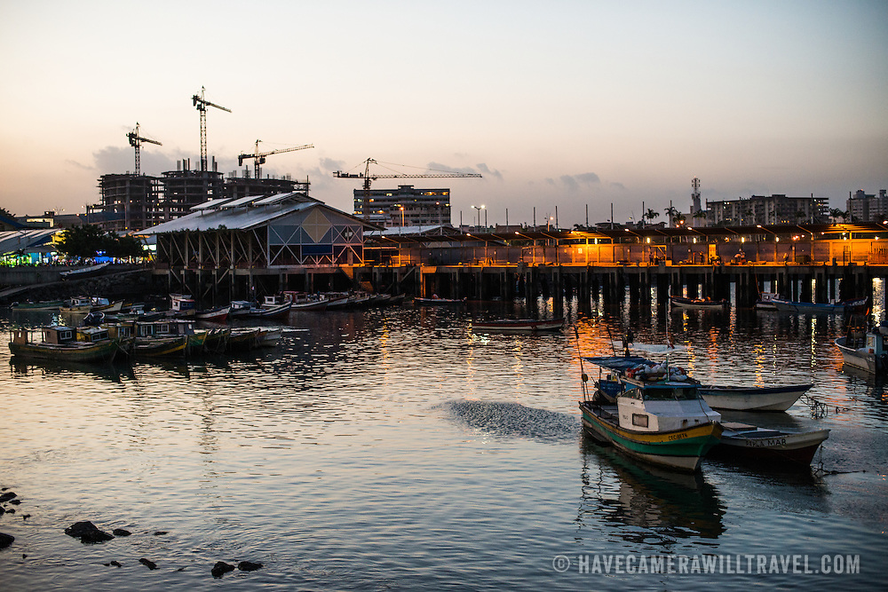 Dusk on the waterfront of Panama City, Panama, on Panama Bay.