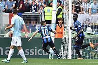 Musa Barrow Atalanta esultanza gol 0-1 goal celebration with Alejandro Papu Gomez <br /> Roma 06-05-2018 Stadio Olimpico Football Calcio Serie A 2017/2018 Lazio - Atalanta Foto Andrea Staccioli / Insidefoto