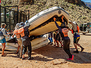 We take out and deflate our rafts at Diamond Creek at Colorado River Mile 225.9 on the Hualapai Indian Reservation. Last of 16 days rafting 226 miles down the Colorado River through Grand Canyon National Park, Arizona, USA. For this photo's licensing options, please inquire at PhotoSeek.com. .