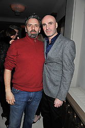 Left to right, KEITH TYSON and JASON BROOKS at a private dinner hosted by Lucy Yeomans in honour of Jason Brooks at The Cafe Royal, Regent Street, London on 13th February 2013.