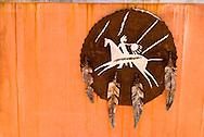 War shield, Veterans Memorial Park, Crow Agency, Crow Indian Reservation, Montana