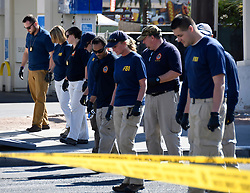 October 3,2017 - Las Vegas Nevada, U.S. -  FBI  start their second day investigation at the concert scene after Sundays mass shooting Tuesday morning.  The latest on victims as of Tuesday is still 59 dead, 527 injured last reported Monday night.  The shooting happen during day 3 of the Route 91 Harvest Festival. (Credit Image: © Gene Blevins via ZUMA Wire)