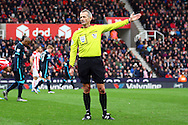 Referee Martin Atkinson awards a free kick. Barclays Premier league match, Stoke city v Manchester city at the Britannia Stadium in Stoke on Trent, Staffs on Saturday 5th December 2015.<br /> pic by Chris Stading, Andrew Orchard sports photography.