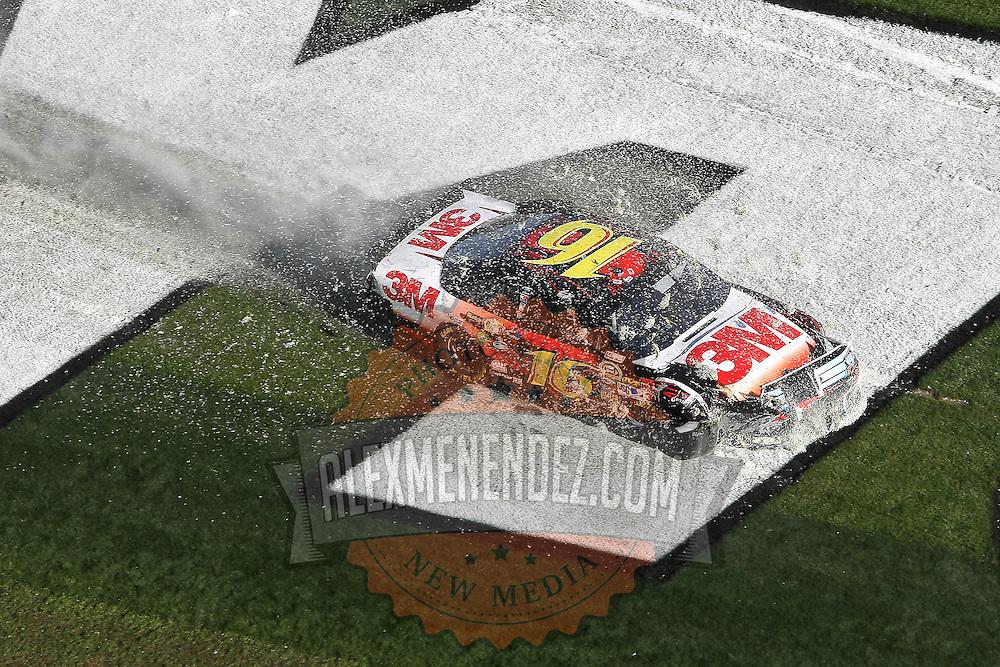 Sprint Cup Series driver Greg Biffle (16) crashes across the infield of the Daytona 500 Sprint Cup race at Daytona International Speedway on February 20, 2011 in Daytona Beach, Florida. (AP Photo/Alex Menendez)