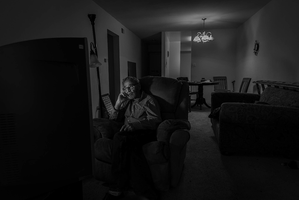 Fairfax, Virginia. April 2nd 2019 - Gene Broyhill, 78, spends most of his time watching television after returning from the Lamb center.