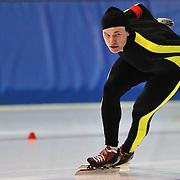 September 18, 2010 - Kearns, Utah - Brian Nelson races in long track speedskating time-trials held at the Utah Olympic Oval.