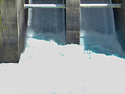 Aratiatia Rapids dam on Waikato river opened with water breaking thru, New Zealand, North Island