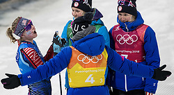 February 17, 2018 - Pyeongchang, KOR - Jessie Diggins, left, is greeted by teammates at the end of the Women's 4x5km Relay at Alpensia Cross-Country Centre during the Pyeongchang Winter Olympics on Saturday, Feb. 17, 2018. The USA finished in fifth place. (Credit Image: © Carlos Gonzalez/TNS via ZUMA Wire)