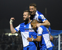 Bristol Rovers' Jerome Easter celebrates his goal with Bristol Rovers' Andy Monkhouse and Bristol Rovers' Lee Brown - Photo mandatory by-line: Dougie Allward/JMP - Mobile: 07966 386802 - 20/03/2015 - SPORT - Football - England - Memorial Stadium - Bristol Rovers v Aldershot - Vanarama Football Conference