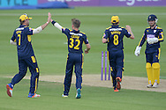 Hampshire leg spinner Mason Crane and Hampshire captain Sean Ervine celebrate the wicket of Essex all-rounder Jesse Ryder during the Royal London One Day Cup match between Hampshire County Cricket Club and Essex County Cricket Club at the Ageas Bowl, Southampton, United Kingdom on 5 June 2016. Photo by David Vokes.