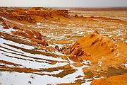Winter landscape in Bayanzag, the flaming cliffs in the Gobi Desert of Mongolia, Gobi Desert, Mongolia