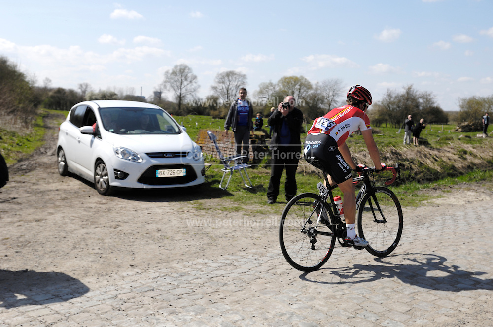 France, Sunday 12th April 2015: Sean De Bie (Lotto Soudal) chases down the eight man break in front at Pont Gibus during the 2015 edition of the Paris Roubaix elite men's cycle race.