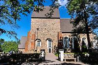 Sweden, Gamla Uppsala. The old Uppsala Church close to the Royal mounds (Kungshögarna).