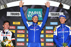October 8, 2017 - Tours, France - TOURS, FRANCE - OCTOBER 8 : TERPSTRA Niki (NED) Rider of Quick-Step Floors Cycling team, TRENTIN Matteo (ITA) Rider of Quick-Step Floors Cycling team, KRAGH ANDERSEN Soren (DEN) Rider of Team Sunweb during the 111th edition of the Paris-Tours cycling race with start in Brou and finish in Tours on October 08, 2017 in Tours, France, 8/10/2017 (Credit Image: © Panoramic via ZUMA Press)