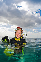 Portrait of female diver in the Caribbean waters of St. Lucia.