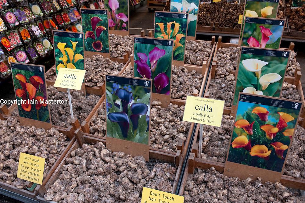 Flower bulbs for sale in flower market in central Amsterdam in Netherlands