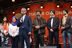 Sadiq Khan (3rd left) with members of the Vaisakhi Organising Committee on stage during the Mayor of London Vaisakhi celebrations in Trafalgar Square, London, to mark the Sikh New Year.