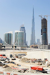 Skyline view of construction in Business Bay district in Dubai United Arab Emirates