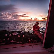 Leg 4, Melbourne to Hong Kong, day 11 on board MAPFRE, Tamara Echegoyen during the sunrise. Photo by Ugo Fonolla/Volvo Ocean Race. 11 January, 2018.