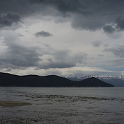 The lake from the estuary of Stara river in Lemos, Greece