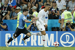 (L-R) Nahitan Nandez of Uruguay, Cristiano Ronaldo of Portugal during the 2018 FIFA World Cup Russia round of 16 match between Uruguay and at the Fisht Stadium on June 30, 2018 in Sochi, Russia