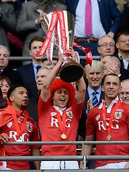 Bristol City's Luke Freeman lifts the JPT Trophy  - Photo mandatory by-line: Joe Meredith/JMP - Mobile: 07966 386802 - 22/03/2015 - SPORT - Football - London - Wembley Stadium - Bristol City v Walsall - Johnstone Paint Trophy Final