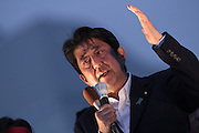 Japanese Prime Minister, Shinzo Abe speaks in support of Liberal Democratic Party candidate, Junko Mihara at an election rally in Sakuraguicho, Yokohama, Kanagawa, Japan. Monday June 27th 2016. The Japanese house of Councillors (Upper House) will hold an election on July 10th.