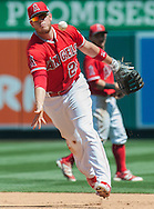C.J. Cron throws to first for the out after making a nice stop during the Angels' preseason game against the Chicago Cubs at Angel Stadium Sunday.<br /> <br /> <br /> ///ADDITIONAL INFO:   <br /> <br /> angels.0404.kjs  ---  Photo by KEVIN SULLIVAN / Orange County Register  --  4/3/16<br /> <br /> The Los Angeles Angels take on the Chicago Cubs at Angel Stadium during a preseason game at Angel Stadium Sunday.<br /> <br /> <br />  4/3/16