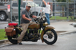 Mike Inglis on his 1927 Harley-Davidson JD during after the hosted dinner at Coker Tires in Chattanooga, Tennessee at the end of stage 3 of the Motorcycle Cannonball Cross-Country Endurance Run, which on this day ran from Columbus, GA to Chatanooga, TN., USA. Sunday, September 7, 2014.  Photography ©2014 Michael Lichter.