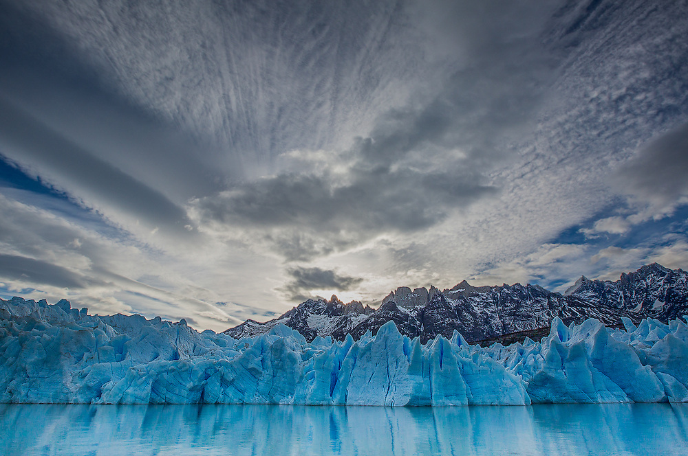 A stunning sky enhances the scene during the approach to Grey Glacier, in Patagonia's Torres del Paine National Park.