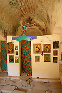 Interior of Ayia Marina,  Paliachora, Aegina, Greek Saronic Islands .<br /> <br /> If you prefer to buy from our ALAMY PHOTO LIBRARY  Collection visit : https://www.alamy.com/portfolio/paul-williams-funkystock/aegina-greece.html <br /> <br /> Visit our GREECE PHOTO COLLECTIONS for more photos to download or buy as wall art prints https://funkystock.photoshelter.com/gallery-collection/Pictures-Images-of-Greece-Photos-of-Greek-Historic-Landmark-Sites/C0000w6e8OkknEb8