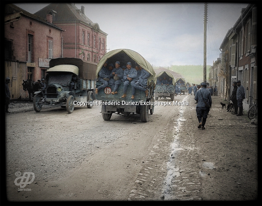 """Colorized photographs soldiers from the World War One<br /> <br /> With his impressive colorized photographs of the World War One, Frédéric Duriez gives us a new look at the conflict that ravaged the world between 1914 and 1918, revealing the difficult daily life of the French soldiers. <br /> <br /> Photo Shows: The village of Souilly is crossed by """"la Voie Sacrée"""" , which connects Verdun to Bar-le-Duc Station.<br /> ©Frédéric Duriez/Exclusivepix Media"""