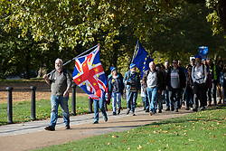 © Licensed to London News Pictures. 19/10/2019. London, UK. Anti Brexit protesters gather in Green Park ahead of a People's Vote March . Later today parliament will vote on the Prime Ministers EU Withdrawal Agreement.  Photo credit: George Cracknell Wright/LNP