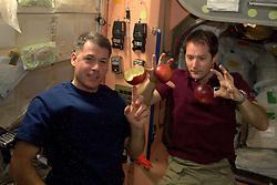 French cosmonaut Thomas Pesquet (right) takes photos on board International Space Station, on December 13, 2016. Photo by ESA via Balkis Press/ABACAPRESS.COM