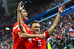 June 19, 2018 - Saint Petersburg, Russia - Denis Cheryshev of the Russia national football team celebrates after scoring a goal during the 2018 FIFA World Cup match, first stage - Group A between Russia and Egypt at Saint Petersburg Stadium on June 19, 2018 in St. Petersburg, Russia. (Credit Image: © Igor Russak/NurPhoto via ZUMA Press)