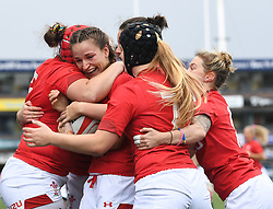 Wales Celebrate their First Try scored by Jasmine Joyce<br /> <br /> Wales Women v South Africa Women<br /> Autumn International<br /> <br /> Photographer Mike Jones / Replay Images<br /> Cardiff Arms Park<br /> 10th November 2018<br /> <br /> World Copyright © 2018 Replay Images. All rights reserved. info@replayimages.co.uk - http://replayimages.co.uk