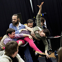 Picture shows :  Annie Grace (far right), Melody Grove ( Prudencia Hart ) (being held), Alasdair Macrae ( with beard ), Paul McCole  and David McKay (waistcoat) .'The Strange Undoing of Prudencia Hart', is a storytelling show based on the Border Ballads, a quirky, boisterous show in the Scottish Folk tradition.  A National Theatre of Scotland production.  .Picture © Drew Farrell. Tel 07721-735041...Cast:  Annie Grace, Melody Grove (( Prudencia Hart), Alasdair Macrae, Paul McCole and David McKay ....Created by Wils Wilson and David Greig. .Directed by Wils Wilson. Designer Georgina McGuiness, and Composer Alasdair Macrae....THE STRANGE UNDOING OF PRUDENCIA HART.THE NATIONAL THEATRE OF SCOTLAND'S AWARD-WINNING SHOW .TOURING INTERNATIONALLY 2013 TO THE UNITED STATES OF AMERICA, CANADA AND AUSTRALASIA...Supported by the Scottish Government International Touring Fund....Press contacts:.Liz Smith - Publicist, The Strange Undoing of Prudencia Hart daisy.ben@live.co.uk .T:  0141 423 4373 M: 07971 417210.Emma Schad - Press Manager, emma.schad@nationaltheatrescotland.com.T: 0141 226 9016 M: 07930 308018 .INTERNATIONAL TOUR DATES 2013..University Musical Society, Corner Brewery, Ann Arbor, Michigan USA (8 to 12 January).www.ums.org..Fusebox Festival, University of Texas, Austin, Texas USA (16 to 19 January).www.fuseboxfestival.com.Supported by Benromach Single Malt Whisky ..Vanderhoef Studio Theatre, Mondavi Center, Davis, California USA   (23 to 26 January).www.mondaviarts.org..Supported by Benromach Single Malt Whisky ..PuSh International Arts Festival & The Cultch, WISE Hall, Vancouver BC CANADA (29 January to 2 February). www.pushfestival.ca  www.theclutch.com..Perth Theatre Festival, Little Creatures Loft, Fremantle, AUSTRALIA (12 to 24 February).www.perthfestival.co.au..Adelaide Festival, The German Club, 223 Flanders Street, Adelaide AUSTRALIA (1 to 9 March).www.adelaidefestival.com.au..Auckland Arts Festival, The Bluestone Roo