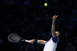 Marin Cilic serves against Alexander Zverev during their singles match during day one of the NITTO ATP World Tour Finals at the O2 Arena, London.