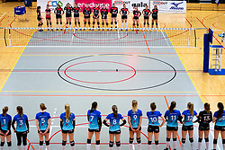 Line up before the first league match between Djopzz Regio Zwolle Volleybal - Laudame Financials VCN on February 27, 2021 in Zwolle.