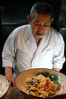 Japanese Tempura Chef - Tempura is a popular Japanese dish of deep fried battered meats, seafood, or vegetables. Cooked pieces of tempura are eaten with dipping sauce and commonly served with grated daikon and eaten hot immediately after frying.