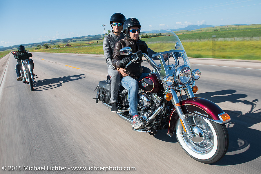 Gianluca Renato of Metzeler Tires in Milan, Italy with his wife on Aiden's Ride, dedicated to help raise awareness for ALD after Bobby Seeger Jr. of Indian Larry Motorcycles' son passed away from the disease, during the 75th Annual Sturgis Black Hills Motorcycle Rally.  SD, USA.  August 6, 2015.  Photography ©2015 Michael Lichter.