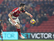 Alvaro Negredo of Middlesbrough heading the ball towards goal during the English Premier League match at Riverside Stadium, Middlesbrough. Picture date: December 5th, 2016. Pic Jamie Tyerman/Sportimage