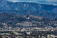 Skyline of Los Angeles with the San Gabriel Mountain range. Los Angeles skyline.