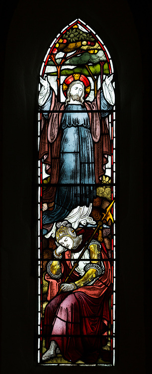 Stained glass window resurrection Jesus Christ Bishops Cannings church, Wiltshire, England, UK with sleeping Roman soldier circa 1869,