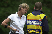 2001 Weetabix Women's British Open, Sunningdale Golf Course, Berks, Great Britain<br />  <br /> [Mandatory Credit Peter Spurrier/Intersport Images]<br /> <br /> Friday 3rd August 2001<br /> <br /> Tish Johnson, discusses with her caddy, the details of the 13th.