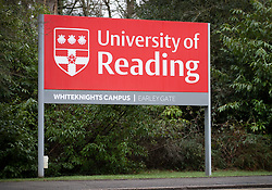 © Licensed to London News Pictures. 05/02/2019. Reading, UK. A sign shows the entrance to The University of Reading Whiteknights campus in Berkshire. Earlier police announced that a body was found in the search for missing student Daniel Williams. Daniel has been missing for five days. Photo credit: Peter Macdiarmid/LNP