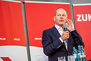 German Minister of Finance and SPD Chancellor candidate Olaf Scholz during an elections campaign event in Berlin, Germany, September 03, 2021. The German Federal elections are scheduled to take place on September 26, 2021.