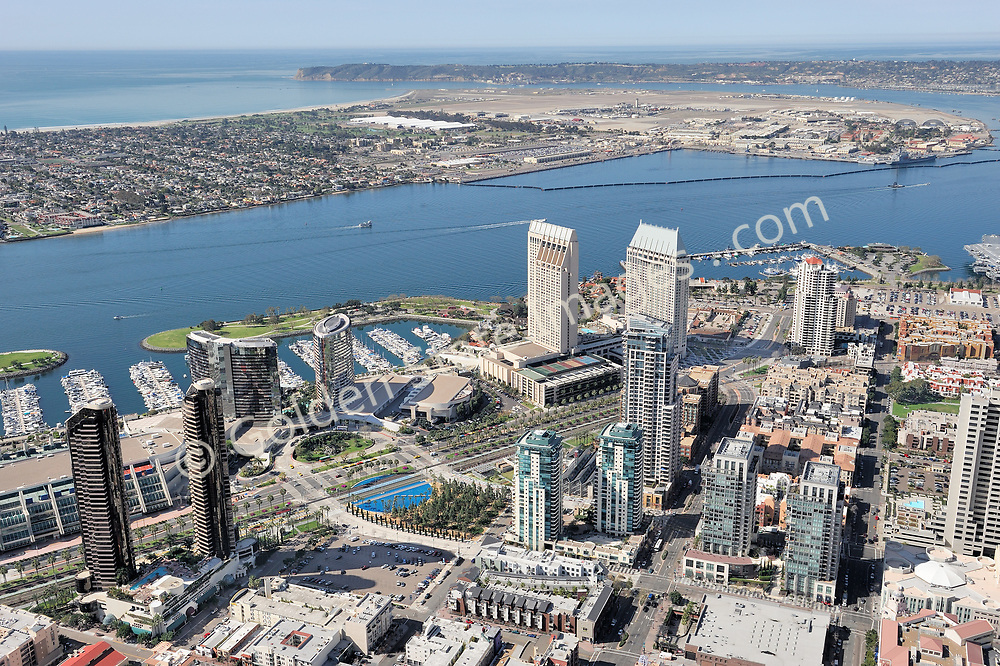 Aerial Photo.<br /> <br /> View looking west, Coronado North Island and Point Loma in background.